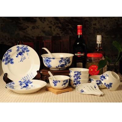 吉祥系列  16头餐具组合 (新款) 骨瓷6碗6勺2盘1汤碗1汤勺