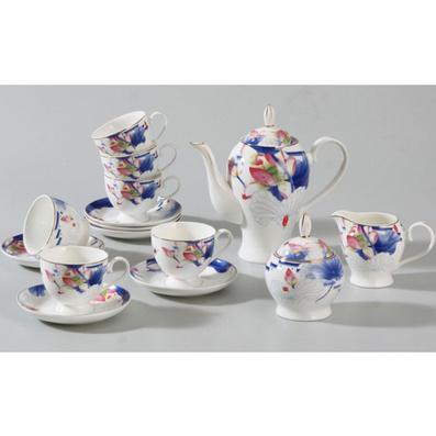 15头咖啡茶具组合 (新款) 骨瓷1茶壶1奶杯1糖罐6咖啡杯16咖啡碟