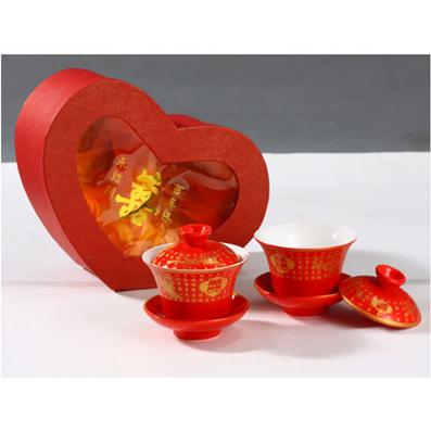 婚慶系列  桃心盒紅釉二茶杯