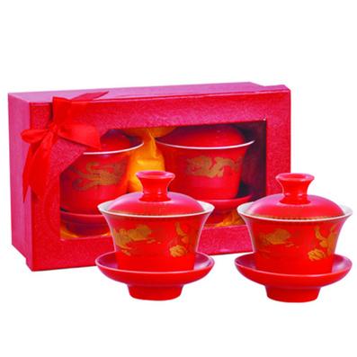 婚慶系列  龍鳳紅釉婚慶茶碗