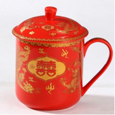 婚慶系列  中國紅多款茶杯
