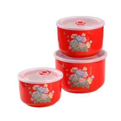 紅釉套三收納罐
