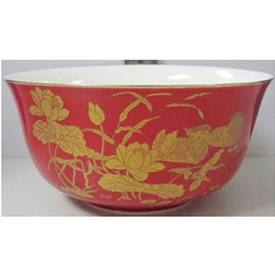 散装金钟红釉单碗 (6寸) (低骨瓷、带金边)