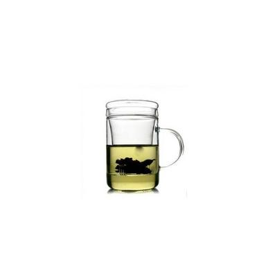 平蓋杯過濾內膽花茶杯 耐熱玻璃杯定制