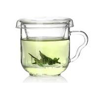 玻璃杯花茶杯帶蓋把過濾茶水杯小耳杯定制