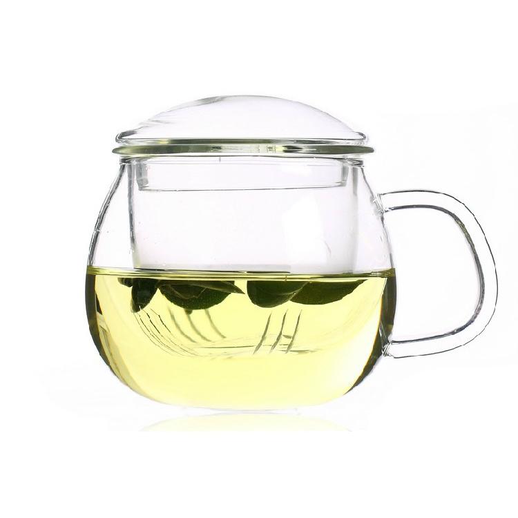 圓趣三件杯 大肚肚帶蓋玻璃過濾內膽花茶杯玻璃杯定制