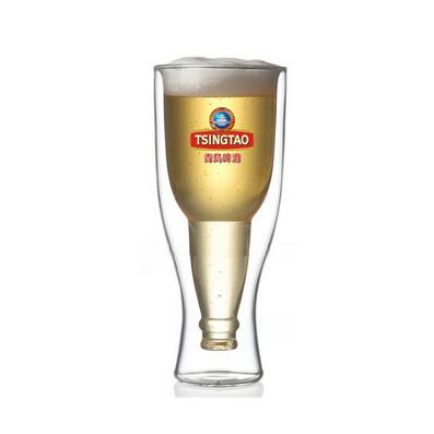 快樂翻轉耐熱玻璃杯雙層杯啤酒杯創意茶杯
