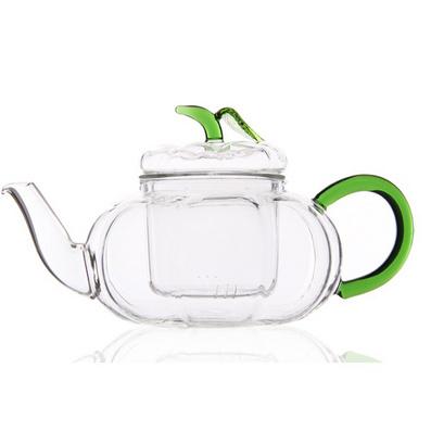 耐熱玻璃茶具綠葉南瓜壺帶把批量定制