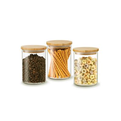 高檔竹子蓋玻璃保鮮罐密封罐定制