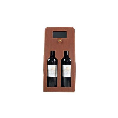 鏤空雙支棕色酒盒定制
