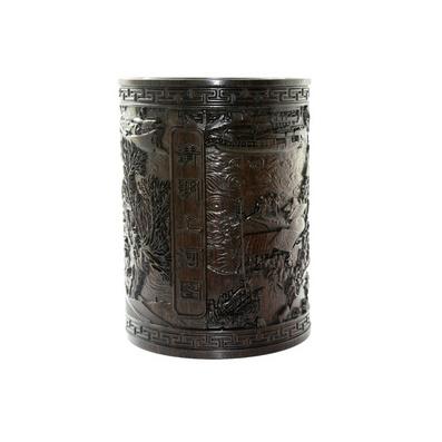 黑檀木料清明上河圖筆筒批量定制