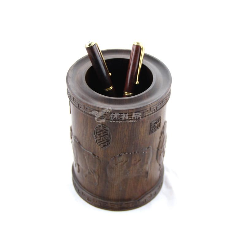 黑檀木五牛图实木笔筒批量定制