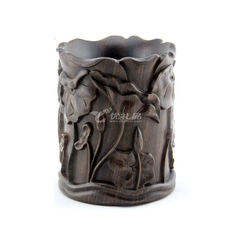 黑檀木荷花筆筒 紅木雕工藝品定制