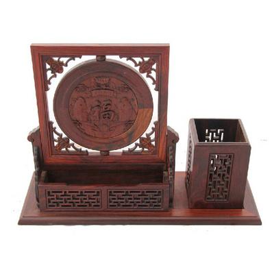 紅酸枝年年有余筆筒名片盒名片筒擺件定制
