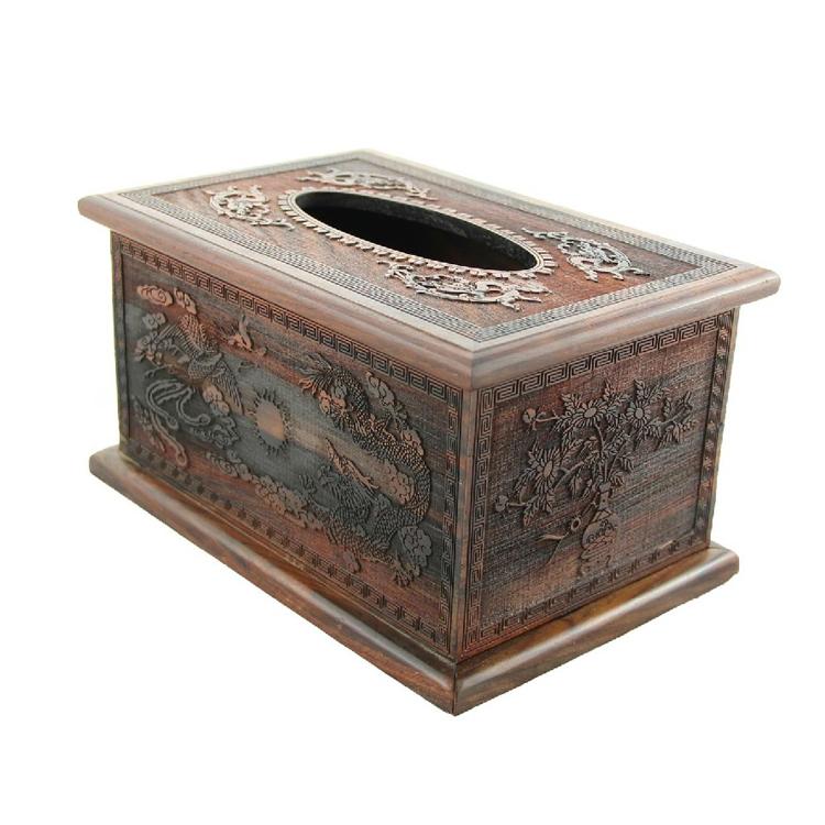 红酸枝精雕纸巾盒/红木雕工艺品定制