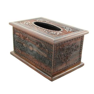 紅酸枝精雕紙巾盒/紅木雕工藝品定制