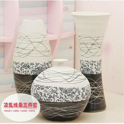 花瓶 陶艺三件套摆件 时尚工艺品