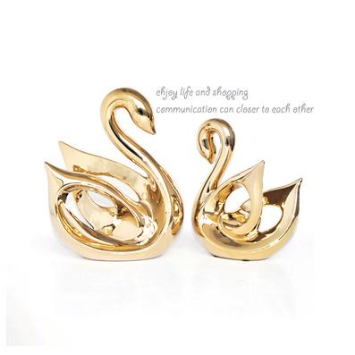 供应陶瓷花瓶 电镀金银摆设 情侣天鹅