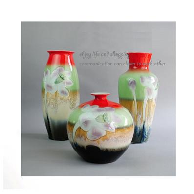 花瓶 陶瓷藝術三件套 家居裝飾品 顏色釉工藝品