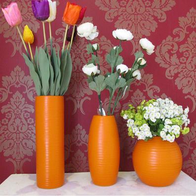 桔色陶瓷花瓶 現代簡約風格定制