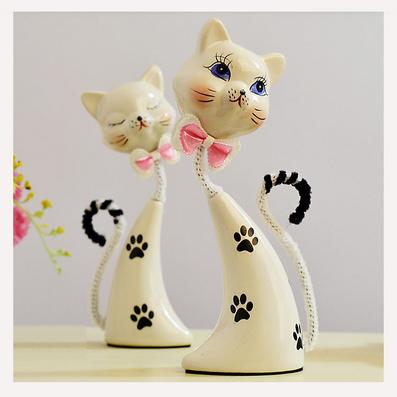 陶瓷情侣蓝眼猫兔 宝贝造型摆件定制