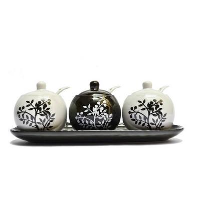 陶瓷 调味罐 调料罐 黑白调味套装 三件套装