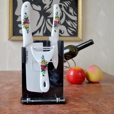陶瓷紅牡丹 菜刀 水果刀 瓜果刀3件套定制