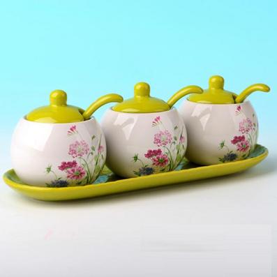 瓷器调味罐 调味3件套装 创意厨房用品定制