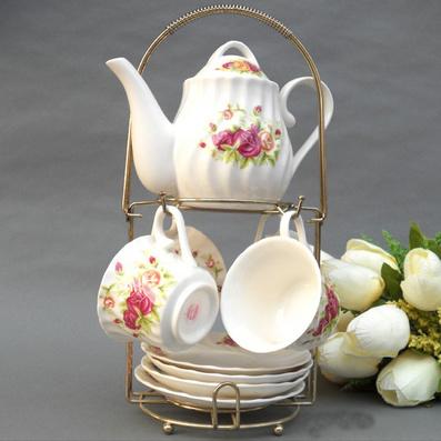 玫瑰咖啡具 9件套茶具批量定制