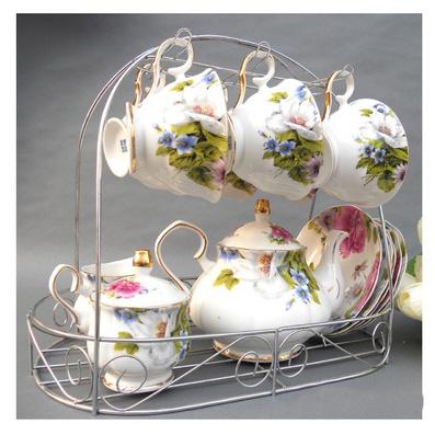骨瓷咖啡杯 咖啡壺 咖啡具 紅貴妃15頭批量定制