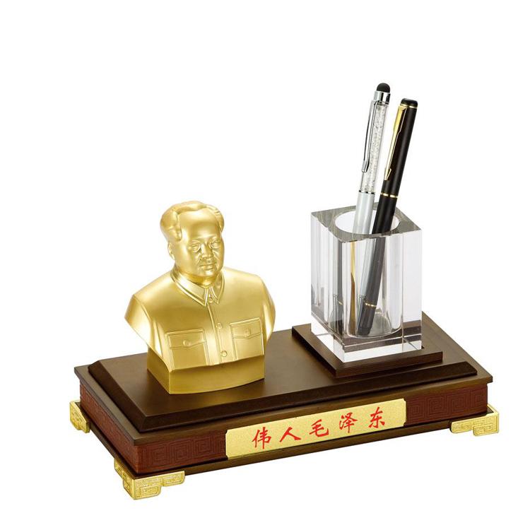 毛主席金屬半身像水晶筆筒工藝品擺臺家居辦公擺件