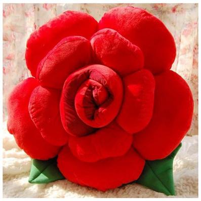 立體玫瑰花抱枕 靠墊 毛絨玫瑰花定制