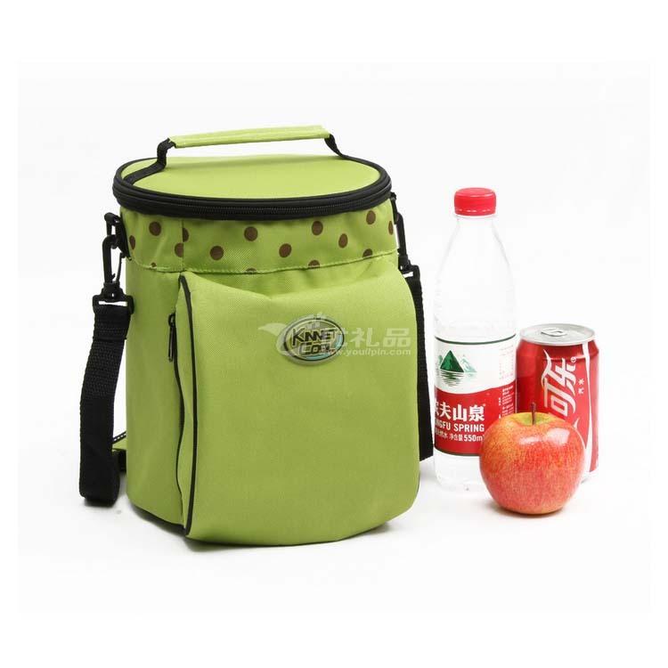 保鮮包保溫包 便當包小號圓桶綠色波點 保溫袋定制