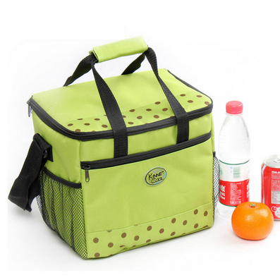 方形大号绿色波点便当包 饭盒保温袋 冰包定制