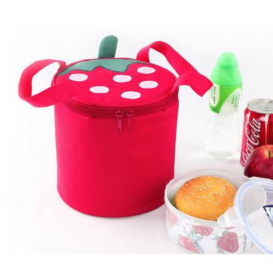 草莓圓形可愛保溫袋 飯盒包 保溫飯盒袋 便當包定制