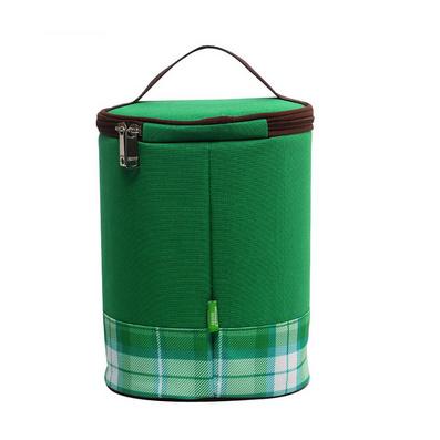 綠色格子圓筒保溫包 保鮮包 冰包 飯盒包 餐包定制