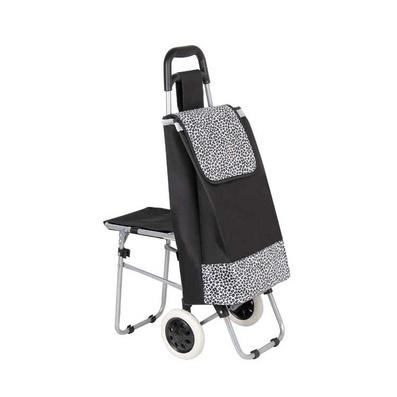 帶凳兩輪便攜可折疊購物車