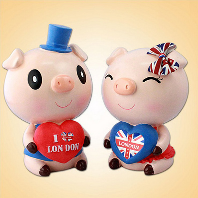 英伦小猪钱罐 存钱罐 创意摆件生日礼品摆设