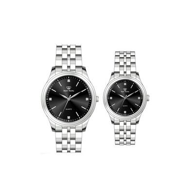 天王表 石英手表 全鋼帶復古商務情侶表