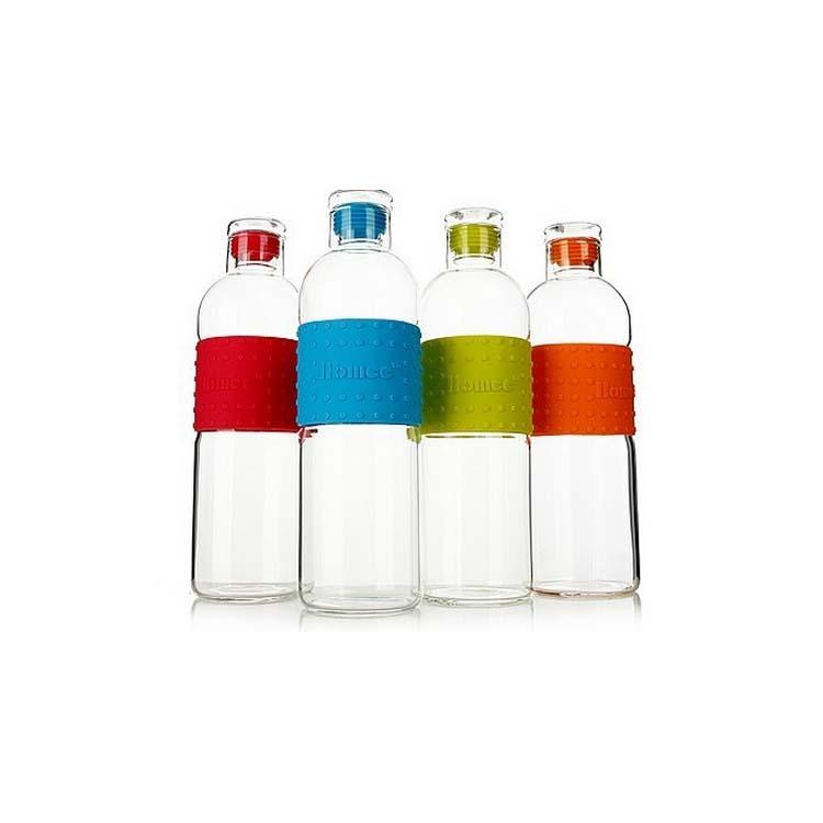 玻璃運動水壺 糖果色玻璃壺 硅膠玻璃瓶定制