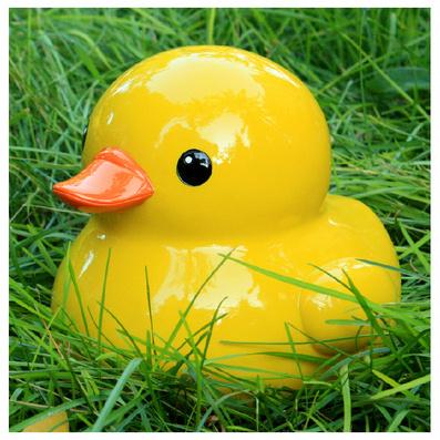 可爱大黄鸭存钱罐  树脂工艺家居摆件