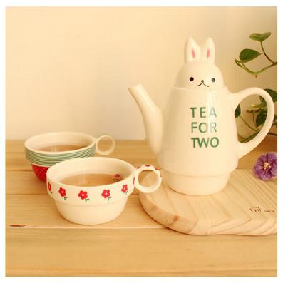 創意可愛兔子茶壺套裝   茶具套杯  情侶陶瓷茶壺
