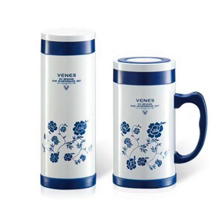 青花骨瓷两件套茶杯水杯 办公杯直杯套装