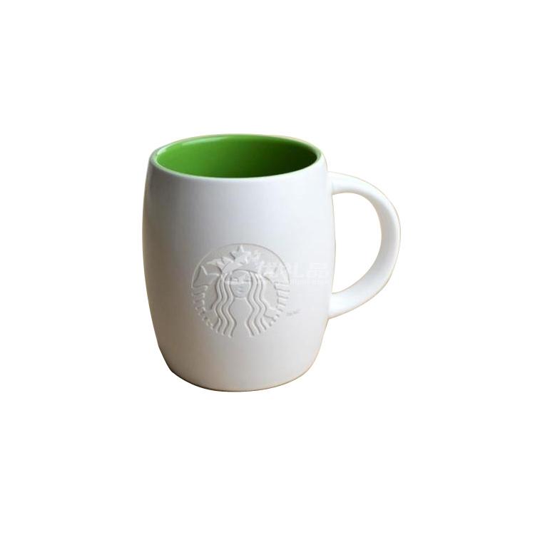 星巴克亚光内绿雕刻版马克杯定制
