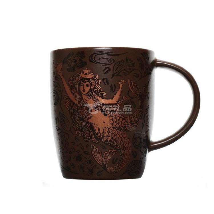 星巴克杯美人鱼咖啡杯浮雕陶瓷马克杯定制