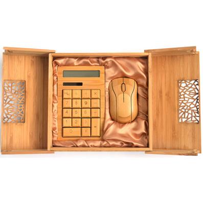 原生態竹木計算器 鼠標套裝 竹木鼠標計算器套裝