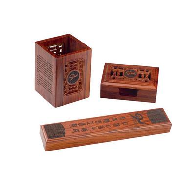 镂空笔筒三件套 酸枝木工艺笔筒套装