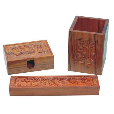 《竹》浮雕笔筒三件套 酸枝木浮雕笔筒件套