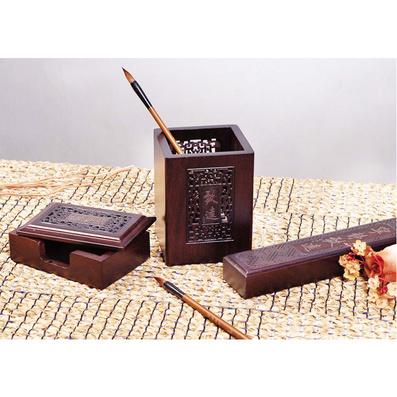 《宁静致远》黑檀木笔筒 名片盒名片夹 镇纸套装