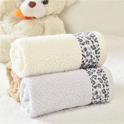 豹紋純棉浴巾毛巾三件套